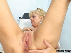 Horny mature patient toying her pink ...