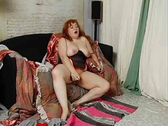 fat, toys, dildo, fingering, mature, masturbation, redhead, busty, bbw