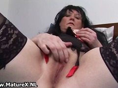 granny, wife, dildo, stockings