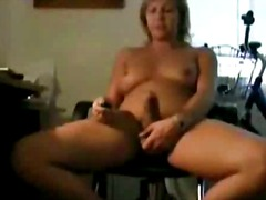 Mature TS webcam jerking off alone