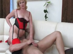 Chubby mature blonde toys pussy and g...
