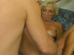 facial, oral, fucking, blowjob, milf, older, lick, blonde, sex, threesome, cum, jizz, cumshot