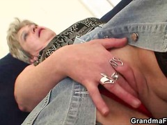 Nasty granny plays with her pussy the...