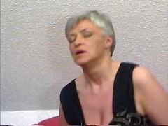 Grey Haired Granny in Stockings Fucks...
