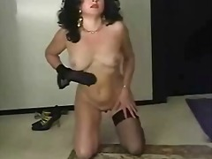 Nylon mom strips for old guy then jer...