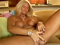 Sexy cougar slips out of her panties ...