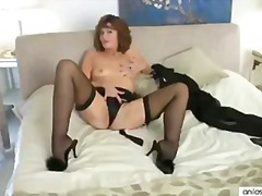 masturbation, stockings, brunette,