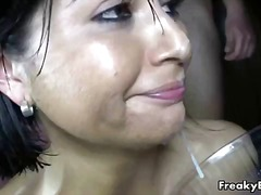 Horny brunette slut is... video
