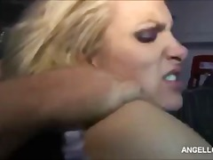 Bitch boss Angel Long shows her cock and facial skills