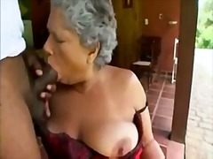 Granny in satin lingerie sucks big bl...