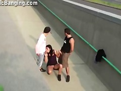 PUBLIC threesome with a BUSTY TEEN pa...