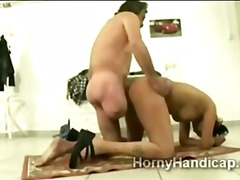 Fat ugly stupid whore gets fucked by one legged horny man