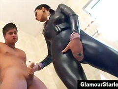 Clothed fetish bitch gets wet