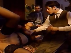 Blindfolded italian wife watched by h...