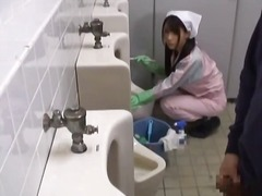 Asian bathroom attenda... video