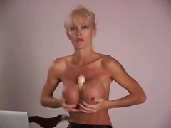 masturbation, busty, blonde, mature