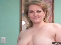 Chubby blonde housewife exposes herself