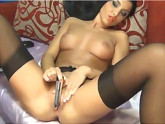Lorrena masturbating in her sexy blac...