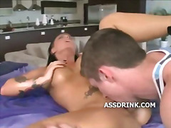 Brunette pussy licked from behind before her slit is fucked
