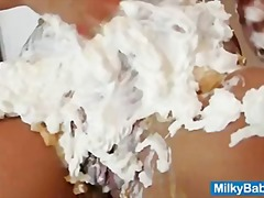 Busty hottie Nikki messy whip cream show