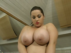 Over Thumbs Movie:Chubby Big tits play with hers...
