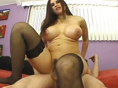 Big tits mature with stockings foot f...