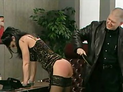 office, couple, stockings, spanking