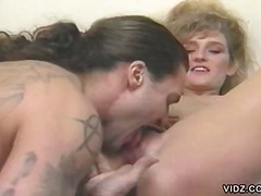 Blonde slut enjoys sex from father and son