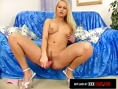 Busty Blonde Strips an...