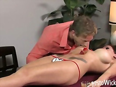 Busty cougar Randy Wright gets strawberries eaten from her sexy body