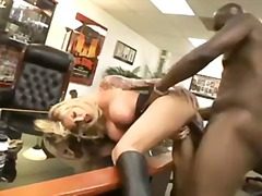 Busty blonde interracial