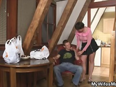 milf, old woman young man, horny