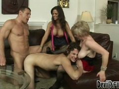 Eager bi-sexual actionion in this hot fuck fest with two couples