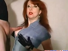 redhead, lady, chubby, mature, older, wife,