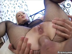 Blond takes a pretty big dick in her virgi...