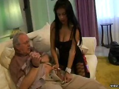 Hot brunette get wild and nasty over grandpa