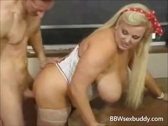 Sexy BBW teacher fucks...