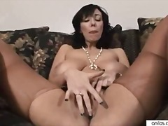 milf, big-boobs, anilos, masturbation, bigtit, brunette, huge-tits, cougar, shaved-pussy, black-hair, solo, pantyhose
