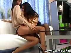 Hungry lesbians licking pussy togethe...