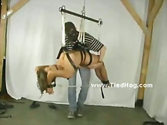 Beautiful blonde with nipple pierces gets her thighs and her pussy hit with a riding crop