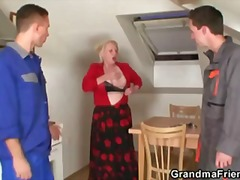 Nasty granny takes two cocks