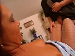 She rips her polka dotted pantyhose to shove a cock inside