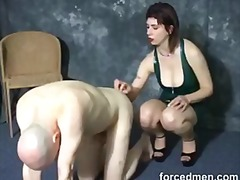 Pussy whore punished by having balls kicke...