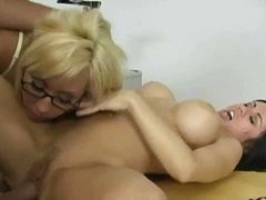 cute, big-tits, babe, threesome