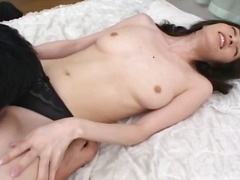 Japanese MILF with trimmed pussy gets it pounded from behind