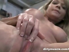 mature, blonde, gym, masturbation,
