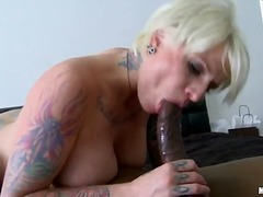 mature, blonde, tattoo, milf, tits, interracial, facial