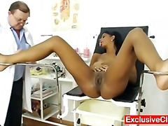 Weird gyno doctor checks hot latina p...