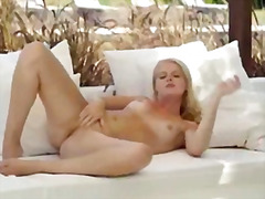 masturbation, outdoors, blonde