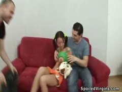Virgin brunette has he... video